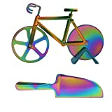 Stainless Steel Bicycle Pizza Cutter Wheel with Pizza Shovel Bike Pizza Slicer Creative Pizza Knife Kitchen Utensil Cool Gifts for Pizza Lovers Boyfriends Girlfriends Families-Rainbow