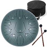 Ha-Drum 12インチ (十一音) スリットドラム タングドラム 打楽器 キャリーバッグ付き 瞑想ヨガ ダークグリーン ロータスキー