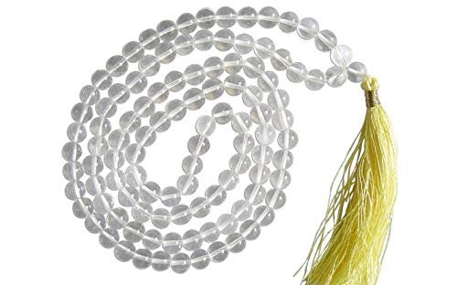 Natural AAA Cristal de Cuarzo 108 Collar de Mala   El Cristal de Cuarzo Mala   108 Oración con Cuentas Collar de Mala   Anudadas a Mano Pulsera de Mala   Japa Mala   8mm Granos Redondos