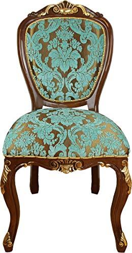 Casa Padrino Silla de Comedor barroca Aspecto Antiguo Turquesa/marrón-Dorado - Muebles de Hotel