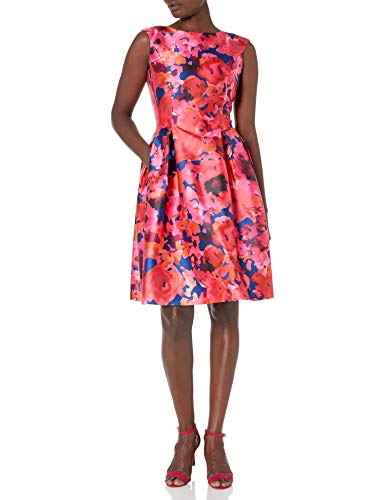 Tahari ASL Women's Sleeveless Fit and Flare Floral Pleated Dress, Navy Fuchsia Coral, 8