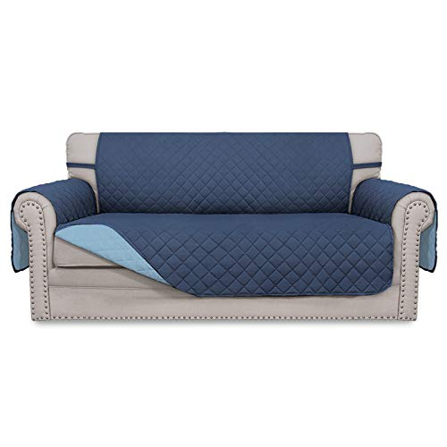 Easy-Going Funda de sofá reversible de gran tamaño, resistente al agua, protector de muebles con correas elásticas para mascotas, niños, perros, gatos (sofá de gran tamaño, azul oscuro/azul claro)