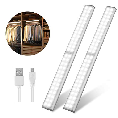 Led Closet Light, USB Rechargeable 52-LED Under-Cabinet Lighting, Wireless Motion Sensor Activated Night Light with Magnetic Strip for Closet, Cabinet, Wardrobe(2 Pack)