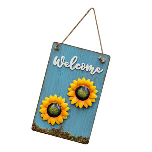 VOSAREA Door Sunflowers Rustic Wooden Welcome Sign Front Porch Decor Vintage Style Garden Art Wall Hanging Decorative Household Garden Signs Plaque