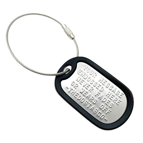 TheDogTagCo Set of 1 Personalised Luggage Stainless Steel Dog ID tag with Cable & Silencer Read Description to See How to ADD Personalisation (Black)