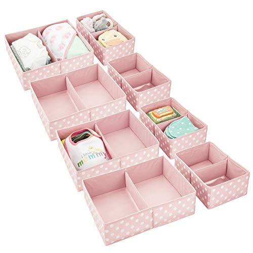 mDesign Juego de 4 Cajas para Guardar Ropa en 2 tamaños – Organizador de Armario con 2 apartados para el Dormitorio Infantil – Cajas organizadoras de Fibra sintética con Bonitos Lunares – Rosa