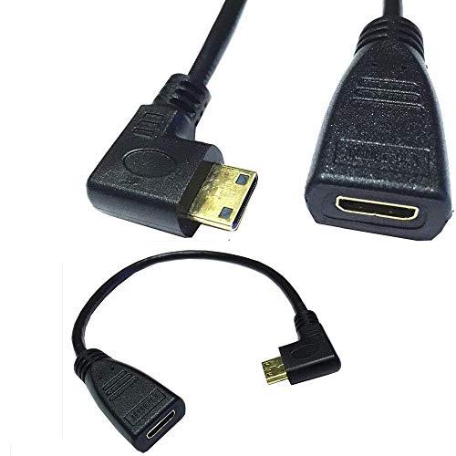 Mini HDMI延長ケーブル、Mini HDMI L字型左向き オス- Mini HDMI メスケーブル4k@60Hz 3DフルHD TV、 Mini HDMI 変換アダプター 変換プラグ(25CM)
