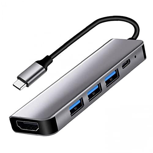 Adaptador USB-C 3.0 HUB Tipo C a HD Adaptador 5in1 USB C 3.0 Conector de cargador de carga de puerto múltiple C 3.0