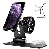 OMOTON 3 in 1 Supporto per iPhone e Apple Watch e Airpods in Alluminio Stand da Tavolo con Foro per Caricabatteria del Watch- Adatto ai Smartphone Samsung Huawei e Tablet Samsung e iPad,Nero