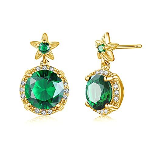 SALAN Pendientes De Oro para Mujer, Piedra Preciosa Esmeralda Verde Original, Pendiente De Plata De Ley 925, Joyería De Lujo