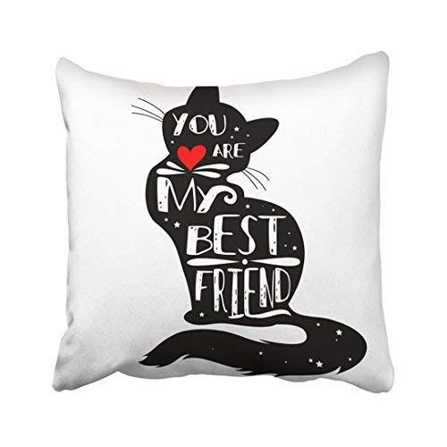 Funda de almohada de algodón con diseño de gato de 16 x 16, tipográfica con silueta y frase 'You Are My Best Friend', con letras inspiradoras, fundas de cojín decorativas cuadradas, para sofá, accesorios para el hogar, regalos de 20 x 30 cm