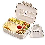Baban Bentobox, 1300ml Brotdose mit Löffel und Gabel, aus Weizenstroh, Lunchbox für Studenten und...