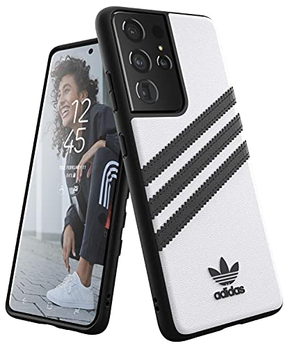 adidas Phone Case Compatible with Samsung Galaxy S21 Ultra, Originals Moulded PU Case, Fully Protective Phone Cover, White and Black