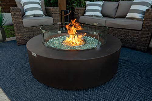 AKOYA Outdoor Essentials 42' Round Modern Concrete Fire Pit Table w/Glass Guard...