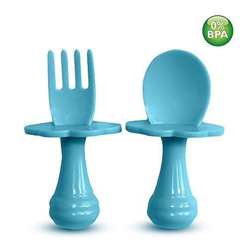 Cuillère bébé - Fourchette bébé - Cuillère et Fourchette pour bébé,Multicolores, Ensemble de couverts pour encourager votre bébé à manger de manière indépendante, sans BPA (Lot de 1, Bleu)
