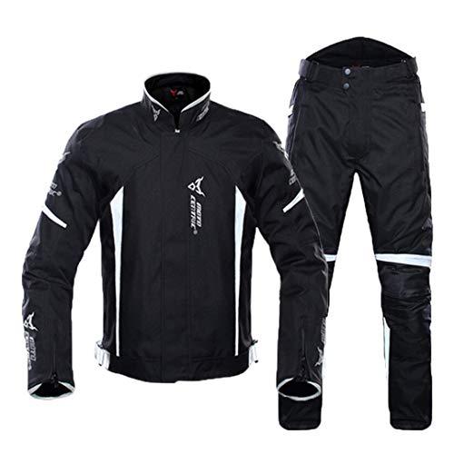 Chaqueta de Motocicleta a Prueba de Agua Hombre Chaqueta de Moto Armadura Corporal Racing Motorbike Jacket Moto Ropa Protección 1702-White Suit XXL