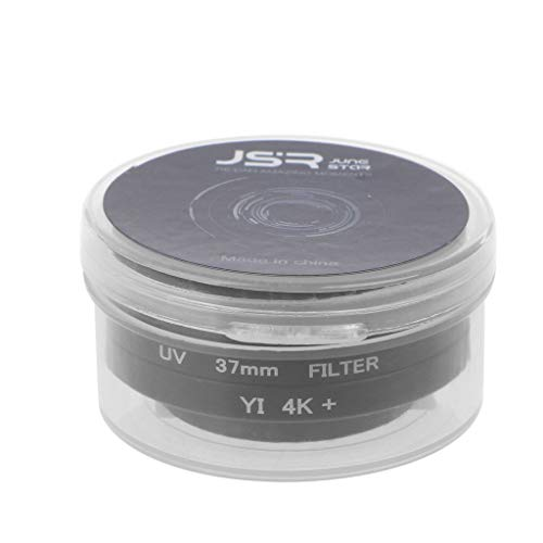 catyrre adaptador filtro objetivo 37 mm adaptador anillo objetivo UV con tapa protectora compatible con cámara deportiva Xiaomi Yi - negro