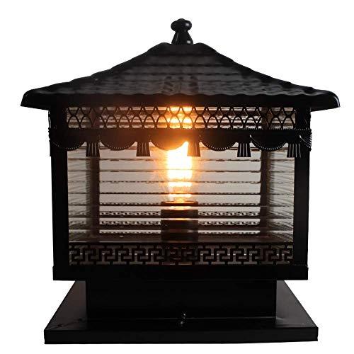 Exterior Post Pillar Lantern Light - Modern Square Lamppost Headlight Black Die-cast Aluminum Rust Prevention Torch Lights - Lawn Courtyard View Villa Outdoor Floor Lamp Garden Décor (Size : M)