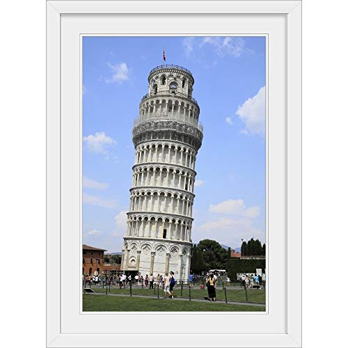 "GREATBIGCANVAS Leaning Tower of Pisa, Pisa, Tuscany, Italy, White Framed Wall Art Print, 24""x36""x1"""