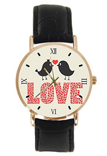 Reloj de Pulsera de Cuarzo analógico con diseño de pájaros y melocotón,...