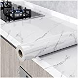 Glossy Marble Paper Granite Gray/White Wallpaper Peel and Stick Wallpaper Self Adhesive Removable Wallpaper 15.8″ ×118″ Waterproof Countertop Paper for Cabinet Countertop Furniture Kitchen Viny Film