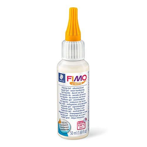 Staedtler FIMO Liquid Gel, ofenhärtendes Gel, fließfähige Konsistenz, in Kunststoff-Flasche mit 50 ml, Farbe transluzent, 8050-00