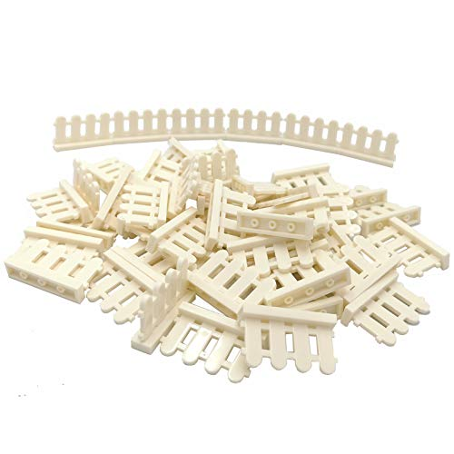 50 PCS City Accessories Bricks Fence 1 x 4 x 2 White Picket Fence Building Block Toy