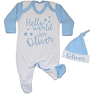 Personalised Hello World I'm Name Contrast Baby Romper Babygrow New Baby Gifts Newborn baby Gifts Personalised Babywear Hospital Outfit