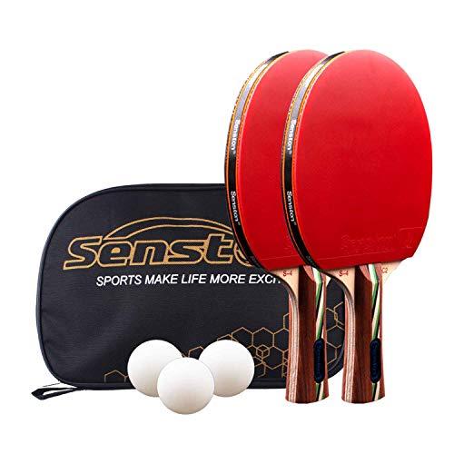 Senston Tischtennis Set, 2 ITTF-zertifiziertes Tischtennisschläger, 3 Tischtennis-Bälle und 1 Tasche Ideal für Anfänger, Familien und Profis