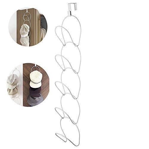 SUNJULY Hut Racks Wand Montierten, 5 Stück Multifunktional Huthalter Kleiderschrank-Haken Platzsparend Und Abgenommen Für Hut Kleidung Tasche Krawatten Schal Lagerung 71x14,5 cm, Weiß