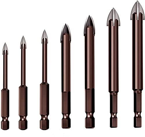 Efficient Universal Drilling Tool,Titanium Combination Drill Tap Bits Set,Multifunctional Cross Alloy Drill Bit Tip Tool,Masonry Drill Bit,Triangle Porcelain Stone Glass Ceramic Concrete Drill (7PCS)