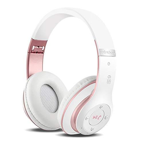 Kabellose Kopfhörer Over Ear, Bluetooth Wireless Kopfhörer HiFi Stereo Zusammenklappbarer Kabellos Headphone, Unterstützt die Micro SD/TF FM (für iPhone/Samsung/iPad/PC) (Roségold & Weiß)