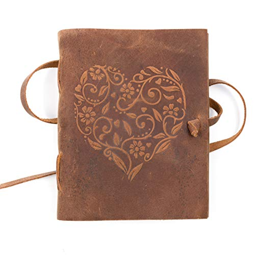 Genuine Leather Journal for Women - Beautiful Handmade Leather Bound Notebook with Embossed Heart Cover - for Daily Drawing, Writing and Sketching - Perfect Size for Travel or Journaling on the Go