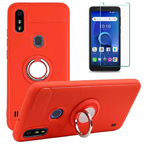 ZTE Blade A3 Prime Case with Glass Screen Protector, ZTE Blade A3Y Leather Case Rotating Ring [Magnetic Car Mount] [360°Kickstand] Holder Soft TPU Protection Cover Case for ZTE Blade A3 Prime (Red)