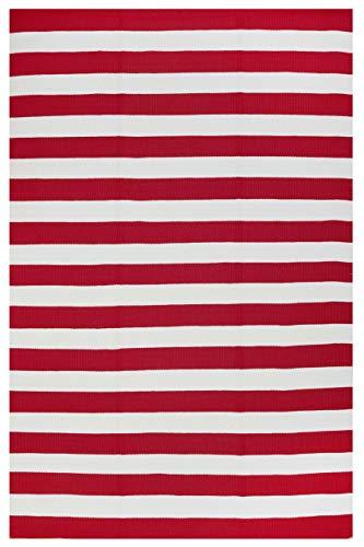 FAB HAB - Intérieur/Extérieur Pet Tapis - Nantucket Rouge & Blanc (60 cm x 90 cm)