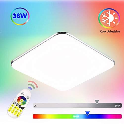 COOSNUG Deckenlampe Bunt 36W Farbig LED Deckenleuchte RGB Deckenlampe Farbwechsel Wohnzimmer Lampe Modern Deckenleuchten Dimmbar Kueche Flur Schlafzimmer mit Fernbedienung