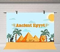X古代エジプトの背景7x5ftファラオピラミッド黒猫写真の背景写真スタジオ小道具バナーBJWYFU3