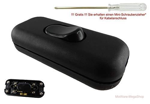 Schnurschalter mit zugentlastungen, 3-polig mit Schraubkontakten, Schraubgehäuse, 6A 250V~