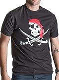 Jolly Roger Pirate Flag | Skull & Crossbones Caribbean Cruise Costume Unisex T-Shirt-(Adult,S) Black