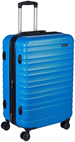 Amazon Basics - Valigia Trolley rigido con rotelle girevoli, 68 cm, Blu chiaro