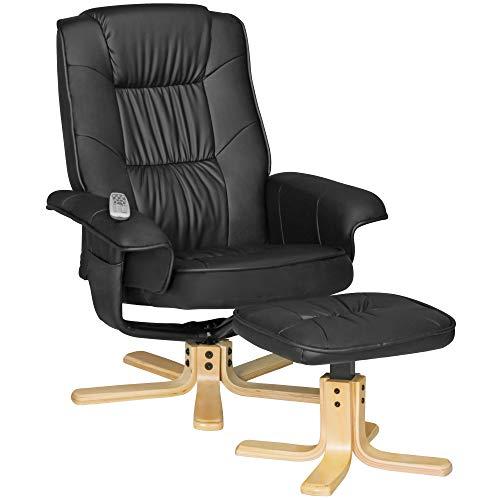 FineBuy Fernsehsessel Relax TV Design Relax-Sessel Wohnzimmer verstellbar Modern Bezug Kunstleder schwarz drehbar mit Hocker X-XL 110 kg mit Armlehnen und Hocker Gaming Sessel ohne Motor Kopfstütze
