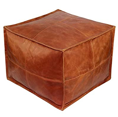 COTTON CRAFT -Cube Pouf Leather Cover & Inner Lining - Natural- Floor Ottoman Cover - Size 17x17x13 - Handmade & Hand Stitched - Truly one of a Kind Seating