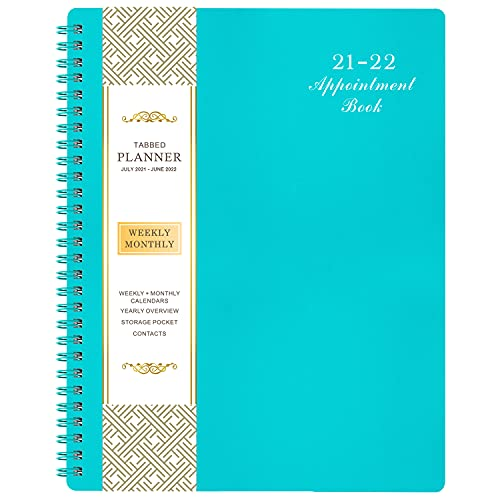 """2021-2022 Weekly Appointment Book & Planner - 2021-2022 Daily Hourly Planner with Twin-Wire Binding, 8"""" x 10"""", Jul 2021 - Jun 2022, 30-Minute Interval, Lay - Flat, Round Corner, Thick Paper - Teal Green"""