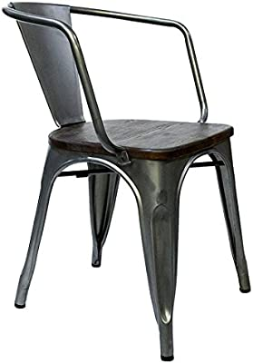 Amazon.com: GIA AY55C_PU_2 Metal Dining Chair with Leather ...