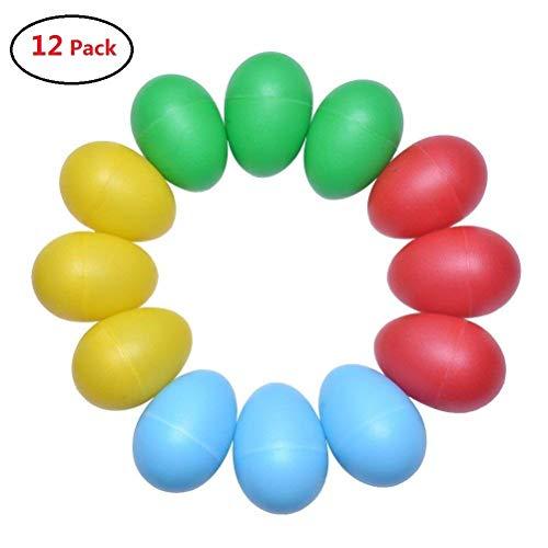 Tougo 12 confezione plastica percussioni giocattoli strumenti musicali uovo maracas shaker con colori assortiti per feste bambini