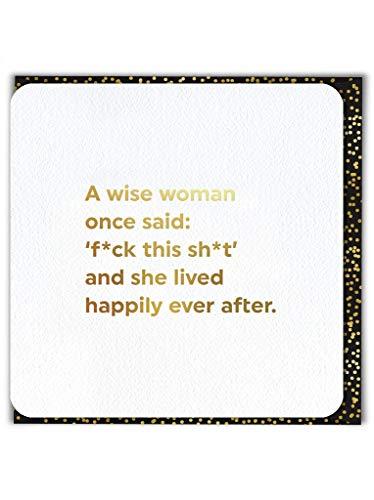 Grappige Humorous 'Een Wijze Vrouw' Goud Verijdelde Verjaardagskaart