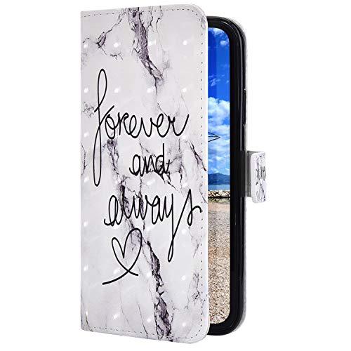 Uposao Kompatibel mit Samsung Galaxy A40 Handyhülle Bunt Bling Glitzer Glänzend Muster Leder Tasche Schutzhülle Brieftasche Handytasche Lederhülle Klapphülle Case Flip Cover,Forever