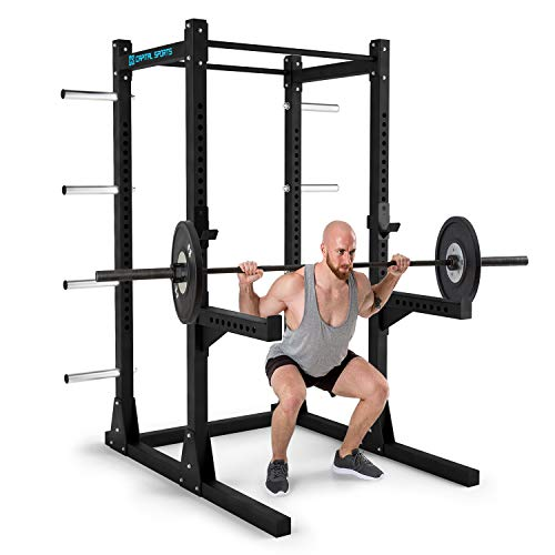 Capital Sports Bestride - Power Rack, Power Station, Power Cage, 2 x Safety-Spotter, 2 x J-Cups, 2 Barre per Pull Up, 8 Supporti per Peso, 184 x 225 x 170 cm, Acciaio Massiccio, Nero