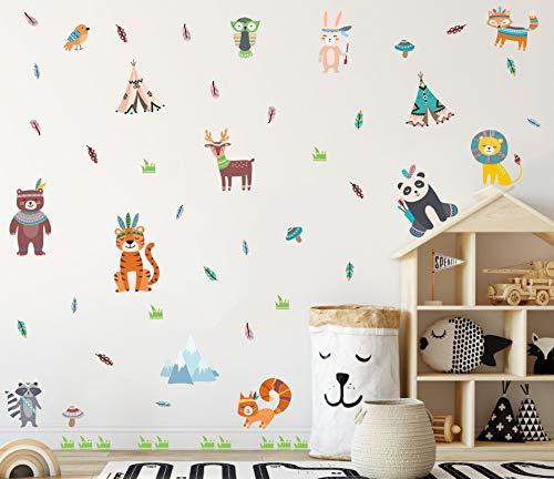 50 Stück Wandtattoo Kinderzimmer,Tier Wandaufkleber Kinder,Wandbilder Indianer Waldtiere,Tiger Waschbär Wandsticker für Schlafzimmer Mädchen Junge,Dschungel Tiere Wanddeko für Babyzimmer Klassenzimmer