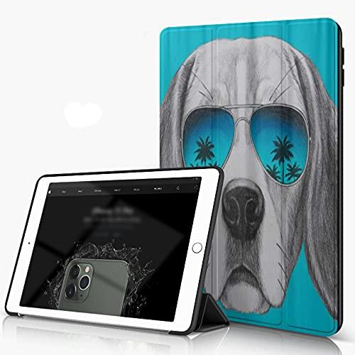 She Charm Funda para iPad 9.7 para iPad Pro 9.7 Pulgadas 2016,Retrato Beagle Dog Mirror Gafas de Sol Dibujadas a Mano,Incluye Soporte magnético y Funda para Dormir/Despertar